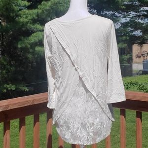 Le Lis cream lace 3/4 sleeves blouse S
